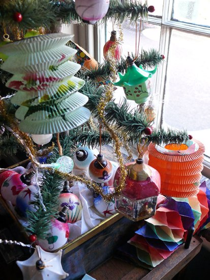 Image of goose feather Christmas tree decorated with oriental decorations